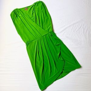 VINCE CAMUTO CHARTREUSE GREEN DRAPED STRETCH DRESS